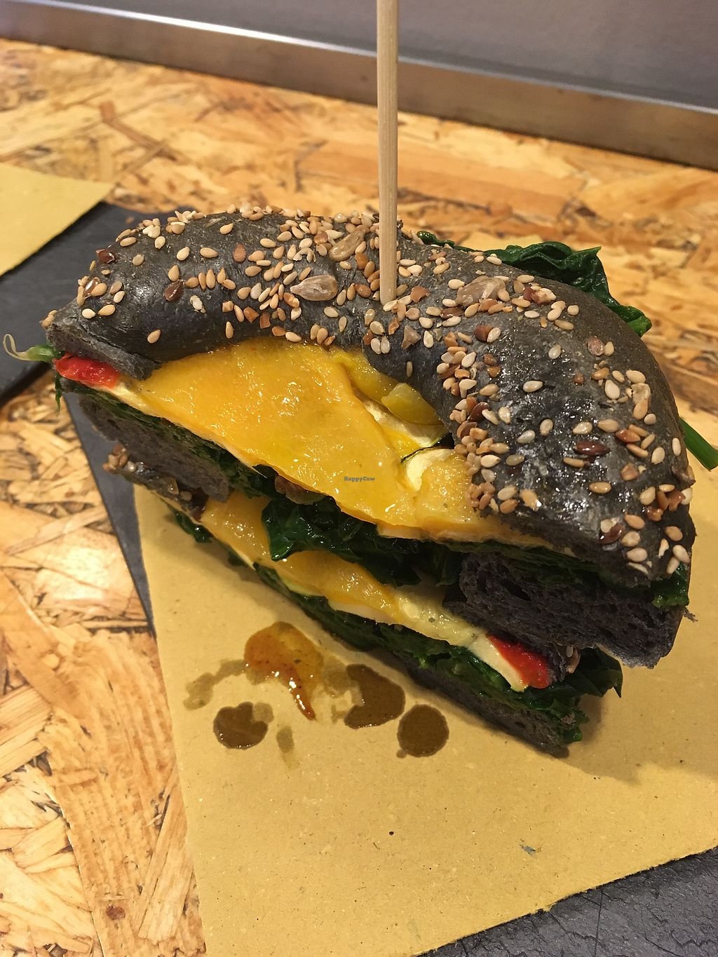 """Photo of 1610 Bagel Torino  by <a href=""""/members/profile/hokusai77"""">hokusai77</a> <br/>Charcoal bagel with grilled vegetables <br/> November 4, 2017  - <a href='/contact/abuse/image/84652/321720'>Report</a>"""