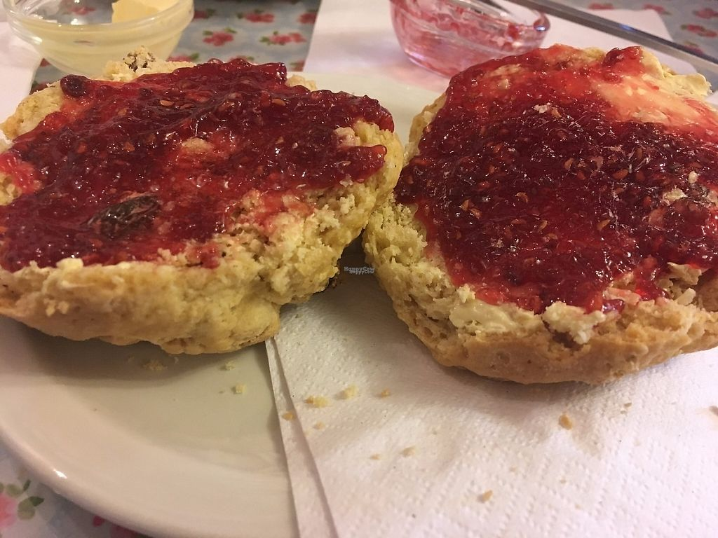 """Photo of Goathland Tea Room & Gifts  by <a href=""""/members/profile/astronemma"""">astronemma</a> <br/>Vegan sultana scone with vegan spread & jam <br/> January 1, 2017  - <a href='/contact/abuse/image/84674/206824'>Report</a>"""