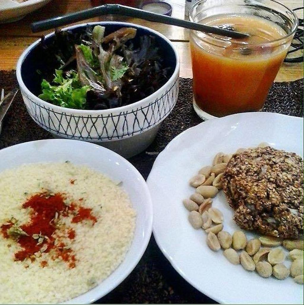 """Photo of Biafra Bambole  by <a href=""""/members/profile/Anacbordalo"""">Anacbordalo</a> <br/>couscous with salad and bean burger <br/> January 1, 2017  - <a href='/contact/abuse/image/84676/206745'>Report</a>"""