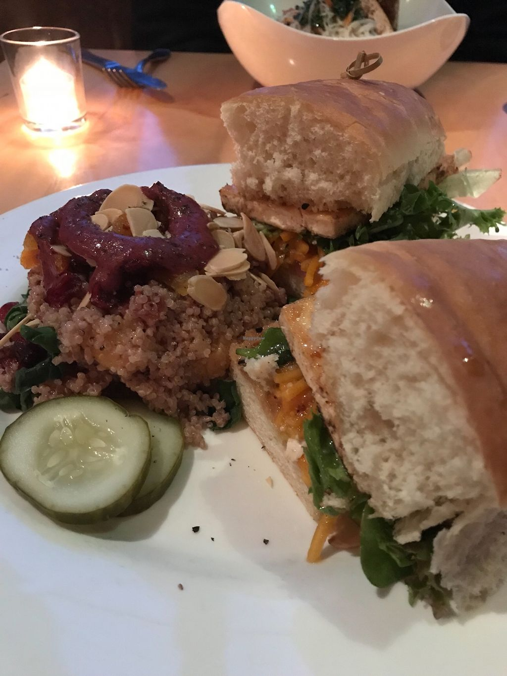 "Photo of Roots  by <a href=""/members/profile/cdmarti5"">cdmarti5</a> <br/>Maple Tofu Sandwhich with the quinoa salad side option <br/> April 13, 2018  - <a href='/contact/abuse/image/84720/385213'>Report</a>"