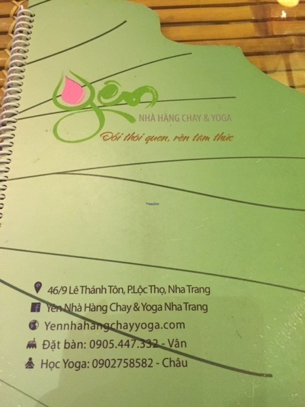 "Photo of Yén Nha Hang Chay & Yoga  by <a href=""/members/profile/UrbanFarm"">UrbanFarm</a> <br/>Menu Cover <br/> January 3, 2017  - <a href='/contact/abuse/image/84735/207383'>Report</a>"