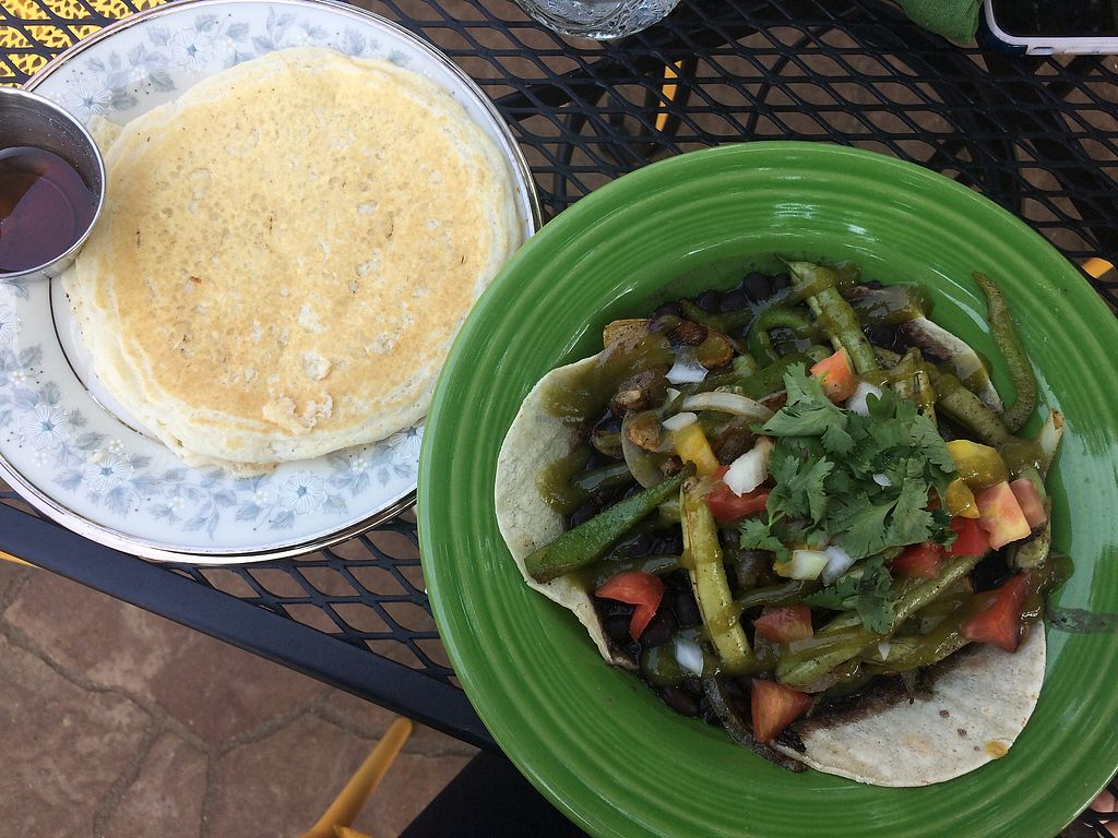 """Photo of The Farmer's Table Cafe  by <a href=""""/members/profile/sarahbethcory"""">sarahbethcory</a> <br/>Vegetable Frijoles and Coconut Almind Pancake <br/> August 9, 2017  - <a href='/contact/abuse/image/84747/290976'>Report</a>"""