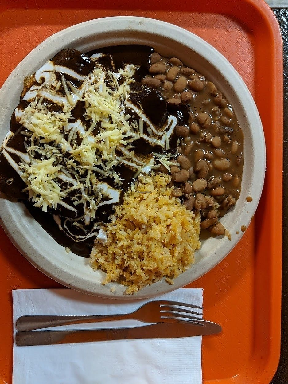 """Photo of Pancho's Vegan Tacos  by <a href=""""/members/profile/theresabee"""">theresabee</a> <br/>Mole Enchiladas <br/> November 20, 2017  - <a href='/contact/abuse/image/84771/327416'>Report</a>"""