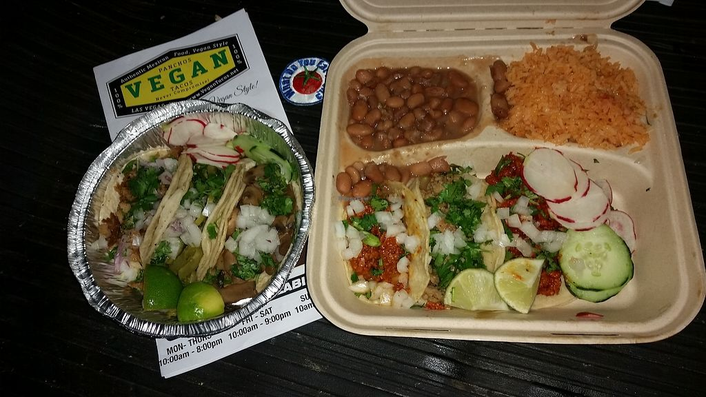 """Photo of Pancho's Vegan Tacos  by <a href=""""/members/profile/WhatDoYouEatThen"""">WhatDoYouEatThen</a> <br/>Wow  VEGAN TACOS  These were all you hope they would be, when you hear #VeganTacos !! I ordered the 3 soft taco combo & the 3 street tacos so i could try all 6 of their """"Meat"""" options  All were good, i cant wait to try out the rest of the menu.  And now ive got another thing to look forward to in Vegas  Thanks much to @owl_and_anchor for the recommendation !! @PanchosVeganTacos #VeganMexicanFood #VeganVegas  #WhatDoYouEatThen <br/> February 4, 2018  - <a href='/contact/abuse/image/84771/354697'>Report</a>"""