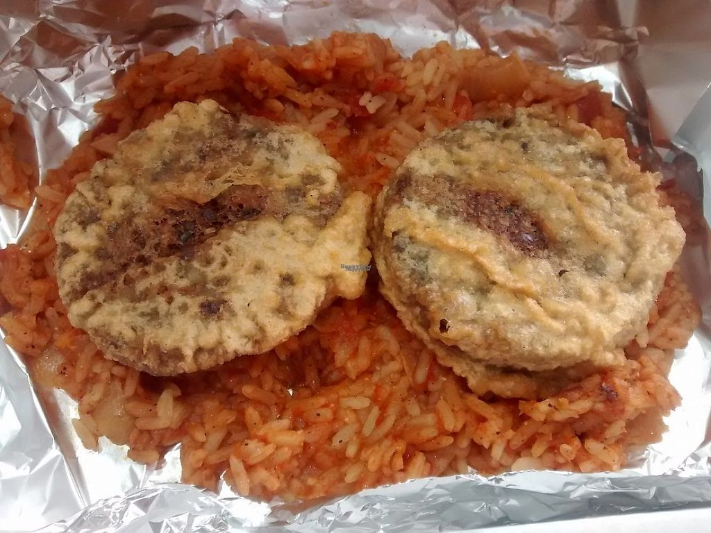 """Photo of Hooked  by <a href=""""/members/profile/TrixieFirecracker"""">TrixieFirecracker</a> <br/>Battered vegetarian haggis and Spanish rice <br/> January 8, 2017  - <a href='/contact/abuse/image/84811/209744'>Report</a>"""