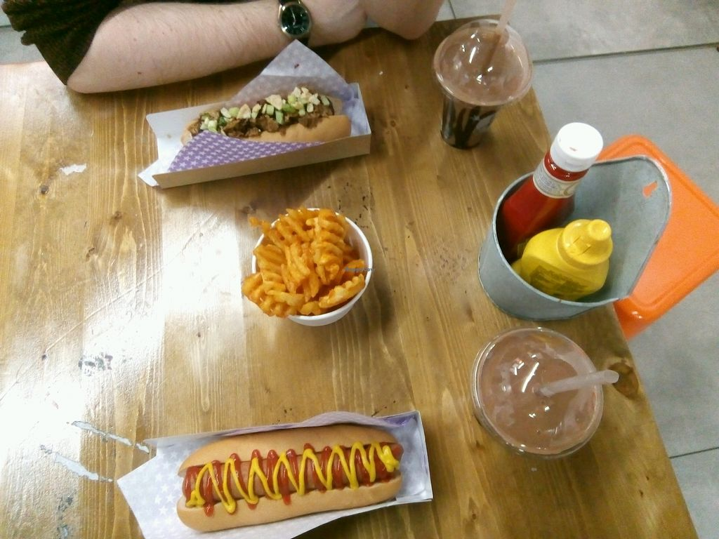 "Photo of Not Dogs  by <a href=""/members/profile/BethWarman"">BethWarman</a> <br/>The 'Plain Jane' and 'What the Duck' dogs with chocolate nice shakes and waffle fries  <br/> April 3, 2018  - <a href='/contact/abuse/image/84822/380238'>Report</a>"