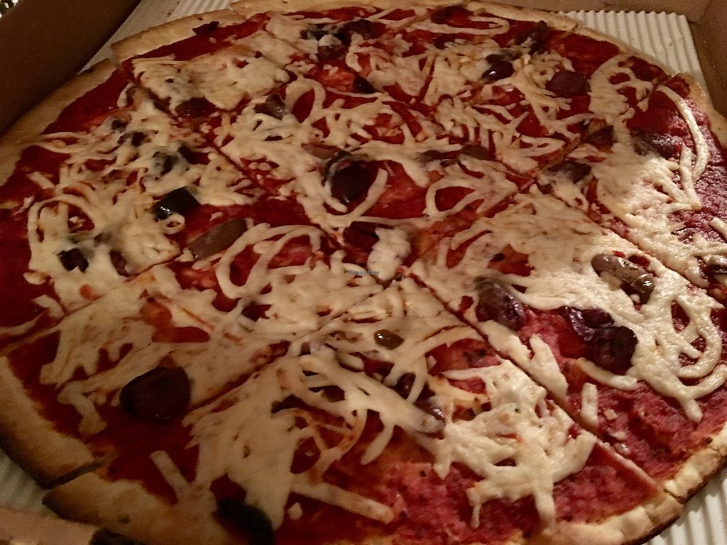 """Photo of Specialty Pizza  by <a href=""""/members/profile/myra975"""">myra975</a> <br/>Vegan cheese & Black Olives <br/> January 9, 2018  - <a href='/contact/abuse/image/84834/344745'>Report</a>"""
