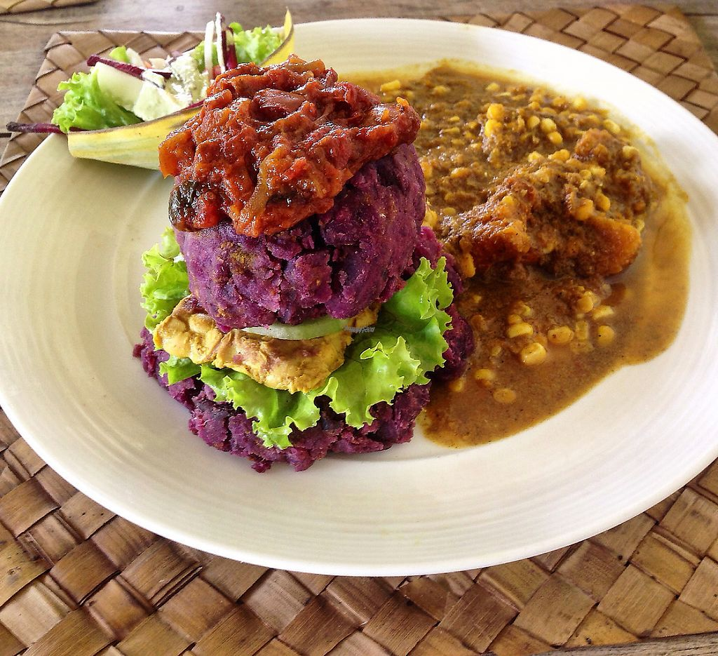 """Photo of Fussy Bird  by <a href=""""/members/profile/HappyVeganCouple"""">HappyVeganCouple</a> <br/>Sweet potato burger with tempeh <br/> March 25, 2017  - <a href='/contact/abuse/image/84838/240798'>Report</a>"""