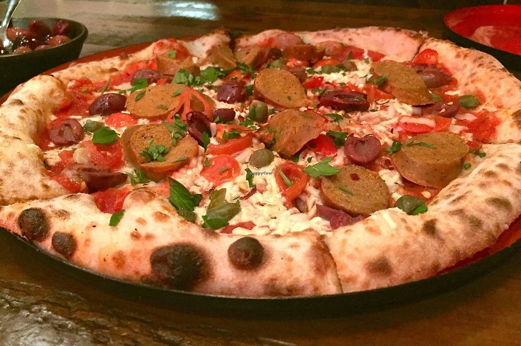 """Photo of Red Sparrow Pizza  by <a href=""""/members/profile/karlaess"""">karlaess</a> <br/>Puttanesca with sausage <br/> May 14, 2017  - <a href='/contact/abuse/image/84855/258601'>Report</a>"""