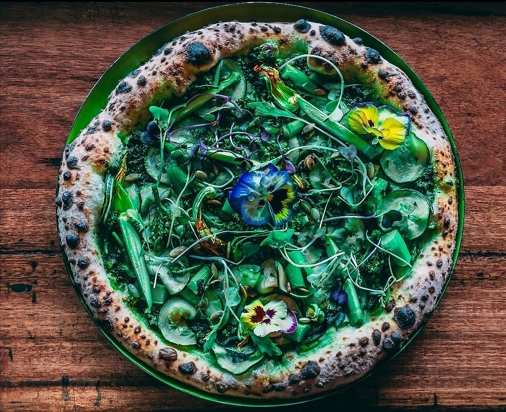 """Photo of Red Sparrow Pizza  by <a href=""""/members/profile/subwaymike"""">subwaymike</a> <br/>Supergreen vegan pizza <br/> November 21, 2017  - <a href='/contact/abuse/image/84855/327959'>Report</a>"""
