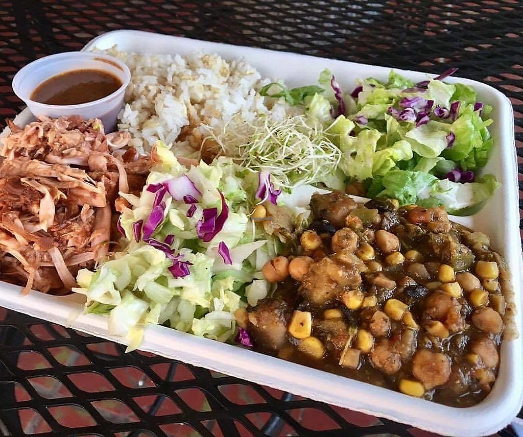 """Photo of Loko Wraps  by <a href=""""/members/profile/jlideik%40gmail.com"""">jlideik@gmail.com</a> <br/>Vegan plate with hot seasonal veggies, jackfruit BBQ, pineapple coleslaw and coconut rice. I LOVE it! <br/> June 19, 2017  - <a href='/contact/abuse/image/84905/271181'>Report</a>"""