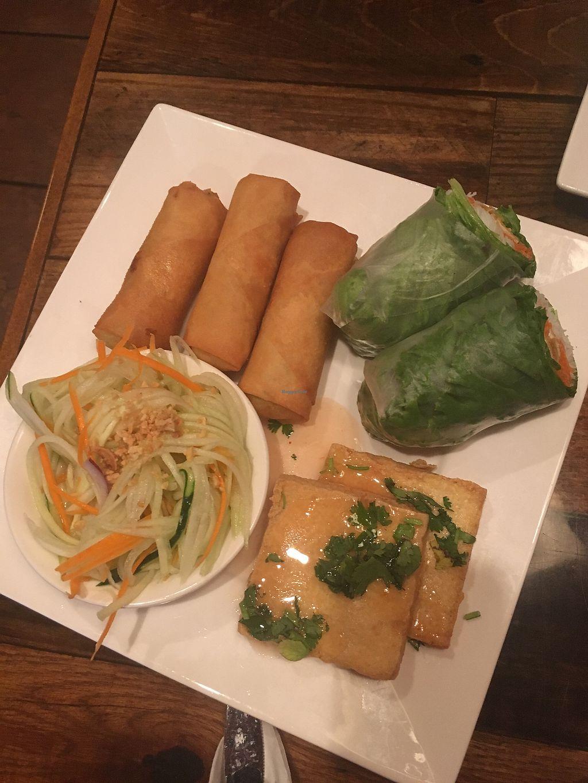 "Photo of Khom Fai  by <a href=""/members/profile/Mariarosekicks"">Mariarosekicks</a> <br/>Vegan appetizer sampler  <br/> September 9, 2017  - <a href='/contact/abuse/image/84911/302570'>Report</a>"