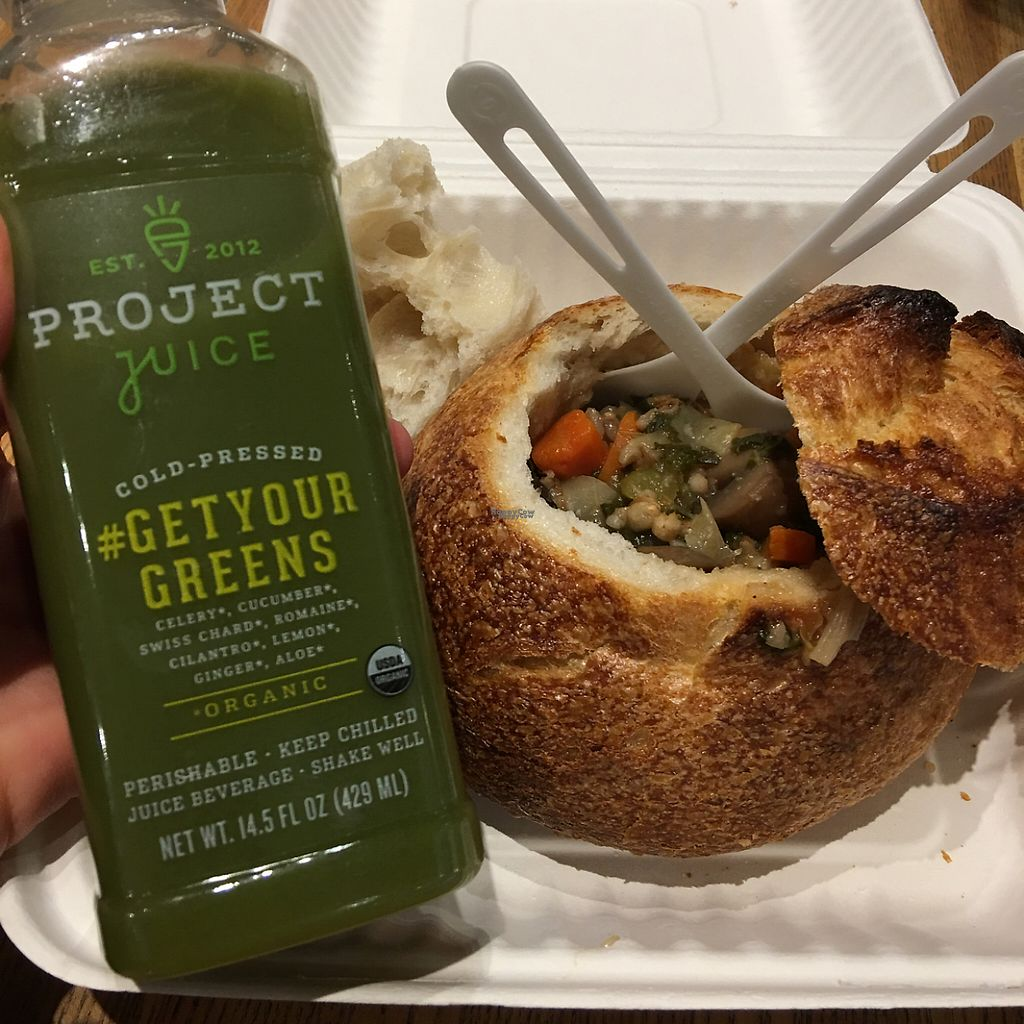 """Photo of SFO - Napa Farms Market - T2  by <a href=""""/members/profile/rafaelleroy"""">rafaelleroy</a> <br/>Cold-pressed juice and veggie soup in bread bowl (VEGAN) <br/> January 5, 2017  - <a href='/contact/abuse/image/84928/208213'>Report</a>"""