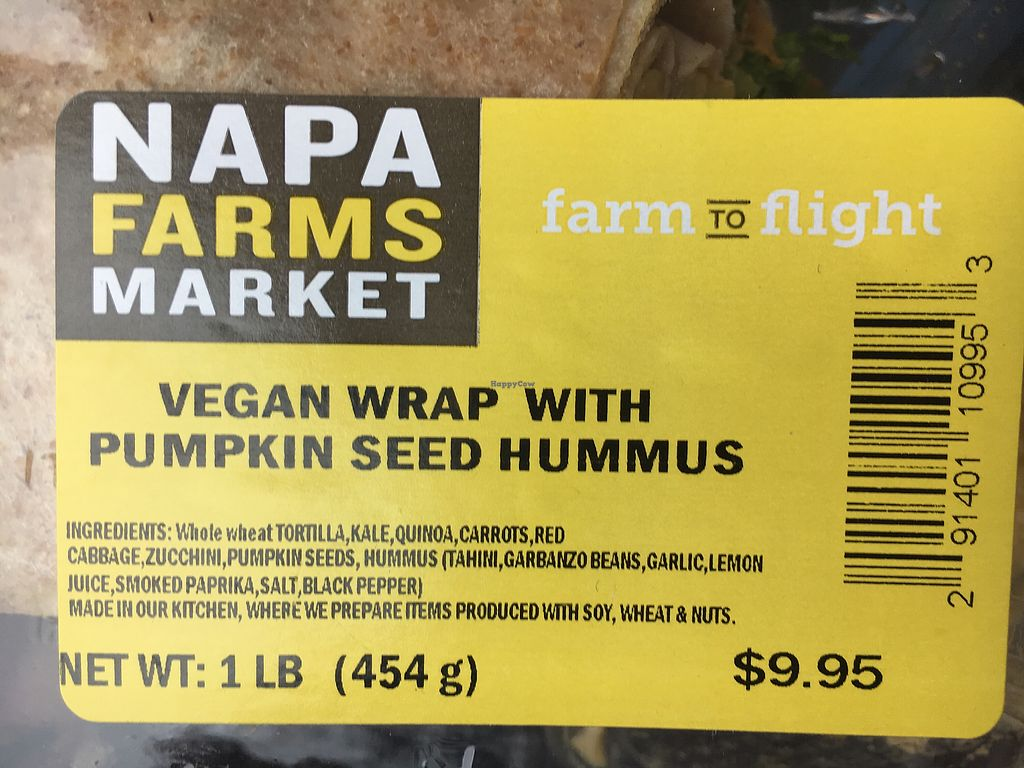 """Photo of SFO - Napa Farms Market - T2  by <a href=""""/members/profile/kittykate"""">kittykate</a> <br/>Clearly labelled vegan option <br/> January 7, 2018  - <a href='/contact/abuse/image/84928/344066'>Report</a>"""