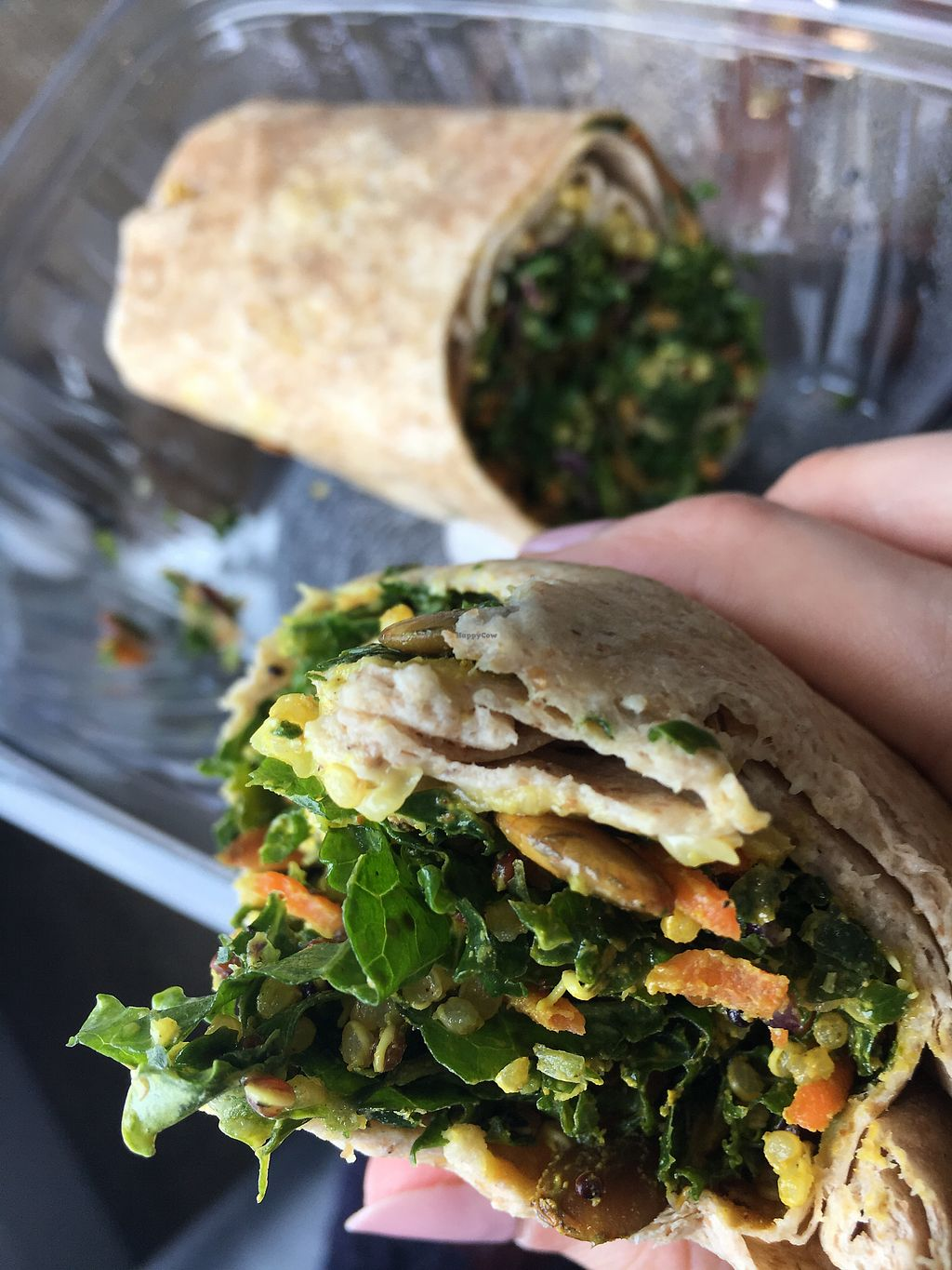 """Photo of SFO - Napa Farms Market - T2  by <a href=""""/members/profile/kittykate"""">kittykate</a> <br/>Pumpkin seed wrap with hummus <br/> January 7, 2018  - <a href='/contact/abuse/image/84928/344068'>Report</a>"""