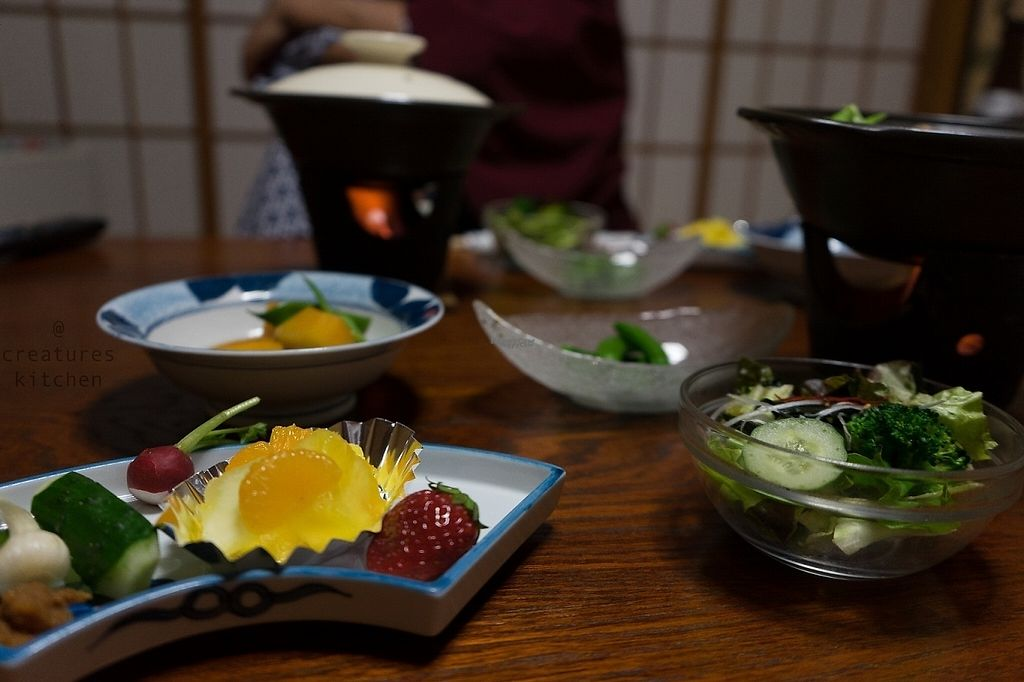 """Photo of Yudakana Onsen Seifuso  by <a href=""""/members/profile/EmmaCebuliak"""">EmmaCebuliak</a> <br/>Dinner at Yudanaka Onsen Seifuso - fresh fruits and vegetables, rice, miso soup, and simmered tofu and mushrooms <br/> January 20, 2017  - <a href='/contact/abuse/image/84950/213551'>Report</a>"""