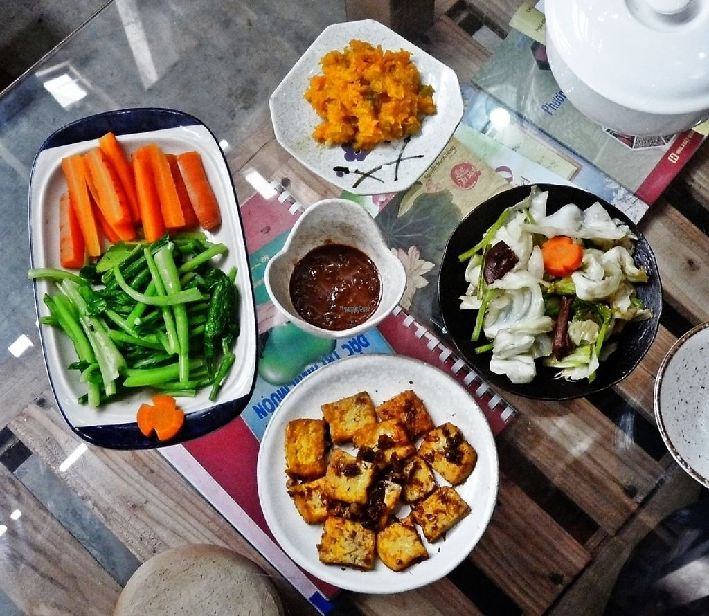 "Photo of Thuc Duong Bao An - Bao An Macrobiotic  by <a href=""/members/profile/gann26"">gann26</a> <br/>a meal: mashed pumpkin, steamed and stir-fried veggies, lemongrass and turmeric tofu, miso dipping sauce <br/> January 16, 2017  - <a href='/contact/abuse/image/84953/212383'>Report</a>"