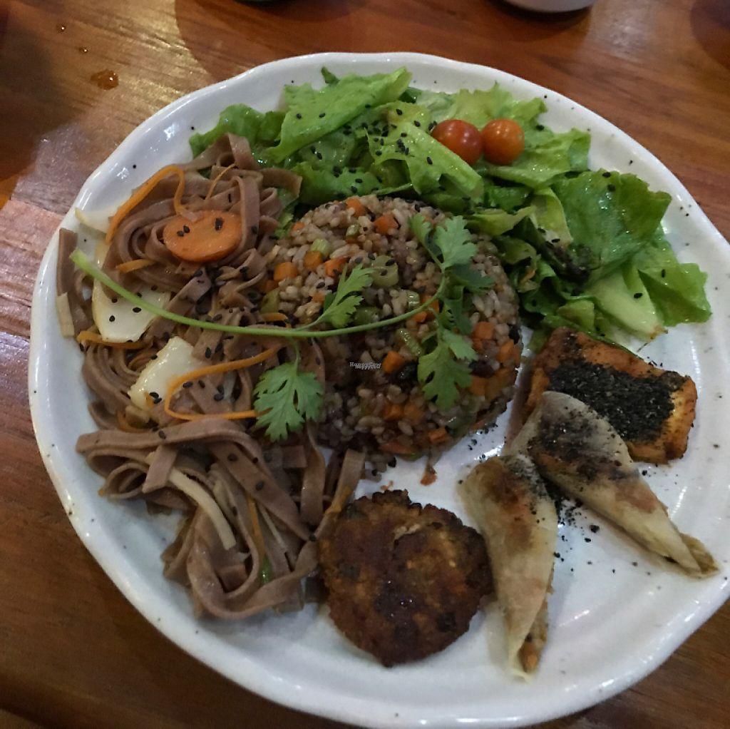 "Photo of Thuc Duong Bao An - Bao An Macrobiotic  by <a href=""/members/profile/KeelyRodrigo"">KeelyRodrigo</a> <br/>Fried brown rice, green salad, stir fried wheat noodles, veggie patty, springrolls and tofu!! <br/> April 25, 2017  - <a href='/contact/abuse/image/84953/252152'>Report</a>"