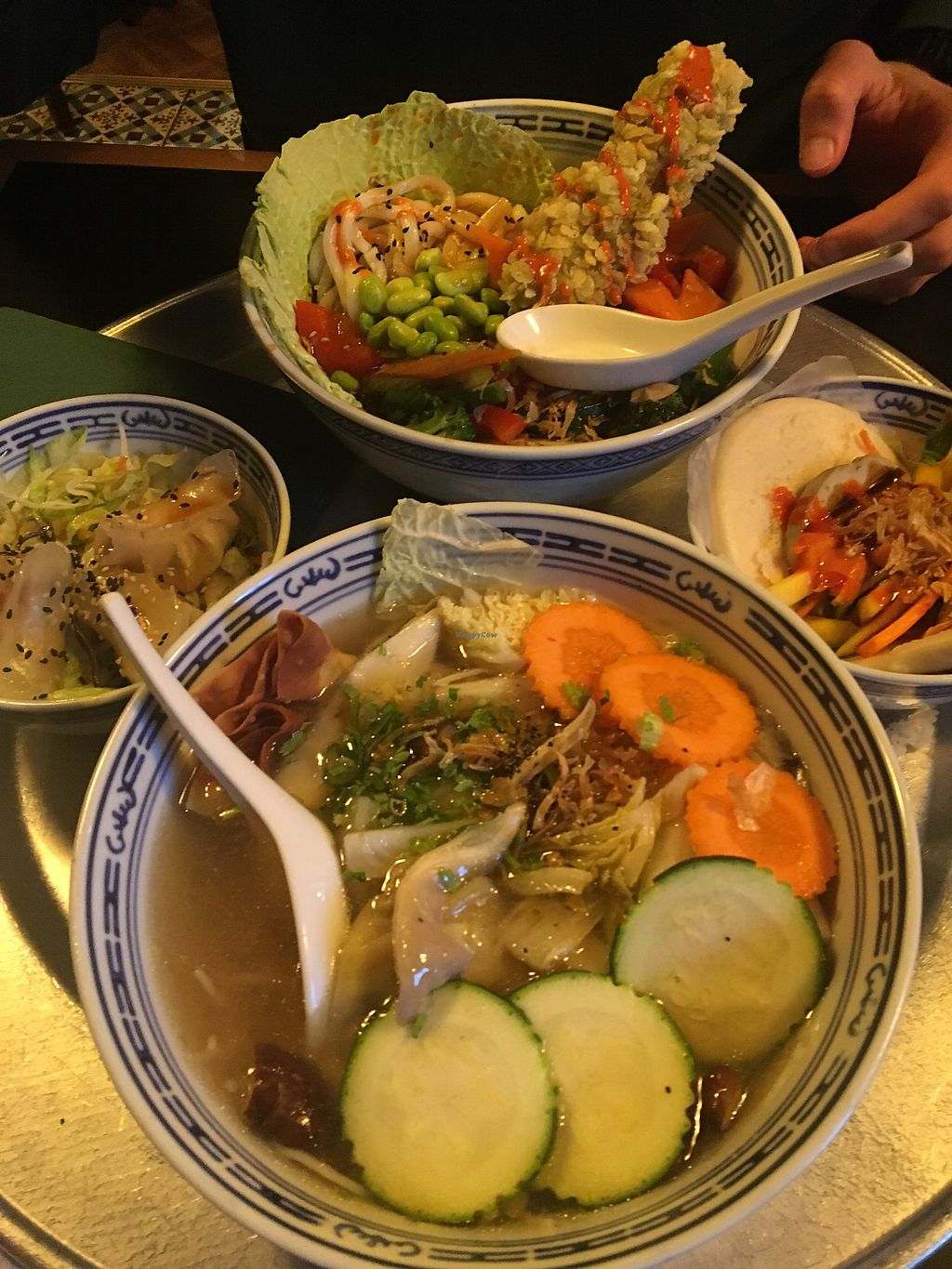 """Photo of 1990 Vegan Living  by <a href=""""/members/profile/SuzanneHarlaar"""">SuzanneHarlaar</a> <br/>Won ton soup and the yin yang bowl :)  <br/> April 4, 2018  - <a href='/contact/abuse/image/84955/380668'>Report</a>"""