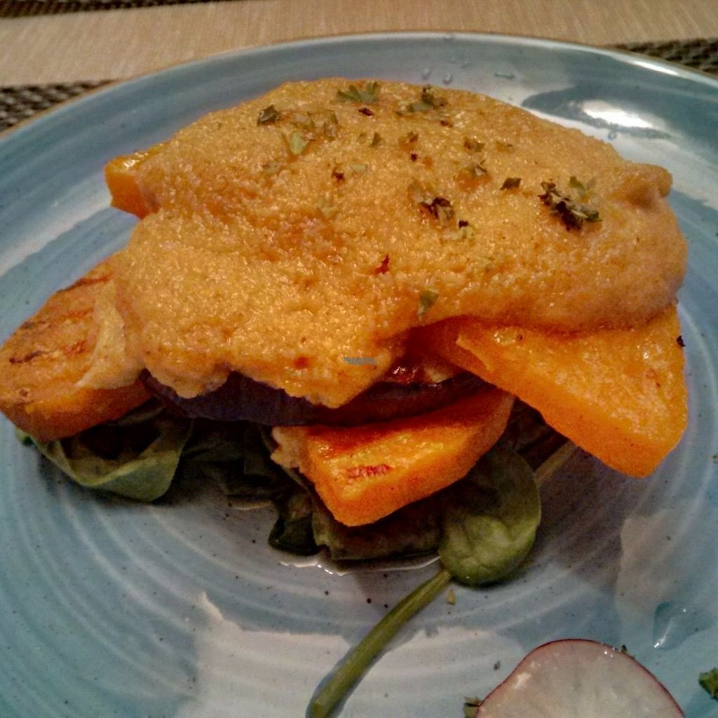 "Photo of The Retreat Cafe and Tea Rooms  by <a href=""/members/profile/Veganolive1"">Veganolive1</a> <br/>Aubergine, sweet potato, butternut squash and houmous stack with wilted spinach <br/> October 1, 2016  - <a href='/contact/abuse/image/8495/179038'>Report</a>"