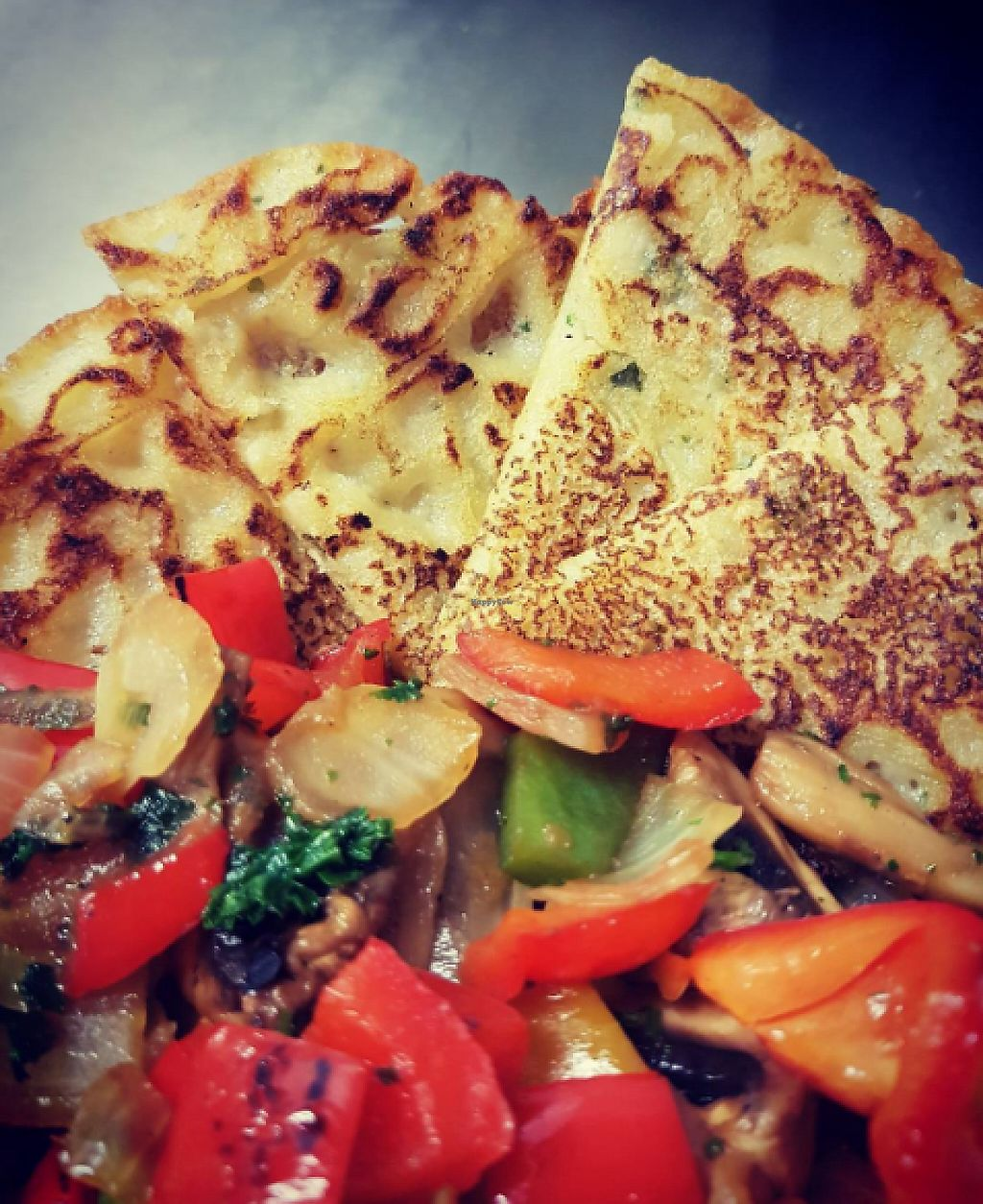 """Photo of Tom and Max  by <a href=""""/members/profile/m%C3%A4xveg"""">mäxveg</a> <br/>We have daily changing menus. This one is a Pancake with fried sweetpeppers .  <br/> May 3, 2017  - <a href='/contact/abuse/image/84996/255245'>Report</a>"""