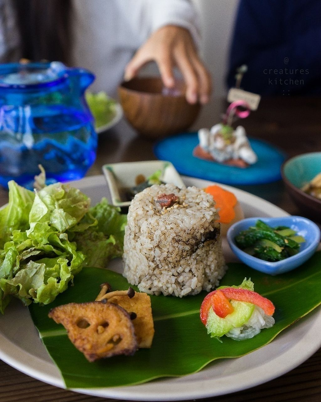 """Photo of Imacoco  by <a href=""""/members/profile/EmmaCebuliak"""">EmmaCebuliak</a> <br/>Lunch set featuring brown rice and pickled plum, lotus root, greens, eggplant, komatsuna, miso soup, and tofu.  <br/> January 18, 2017  - <a href='/contact/abuse/image/85000/213033'>Report</a>"""