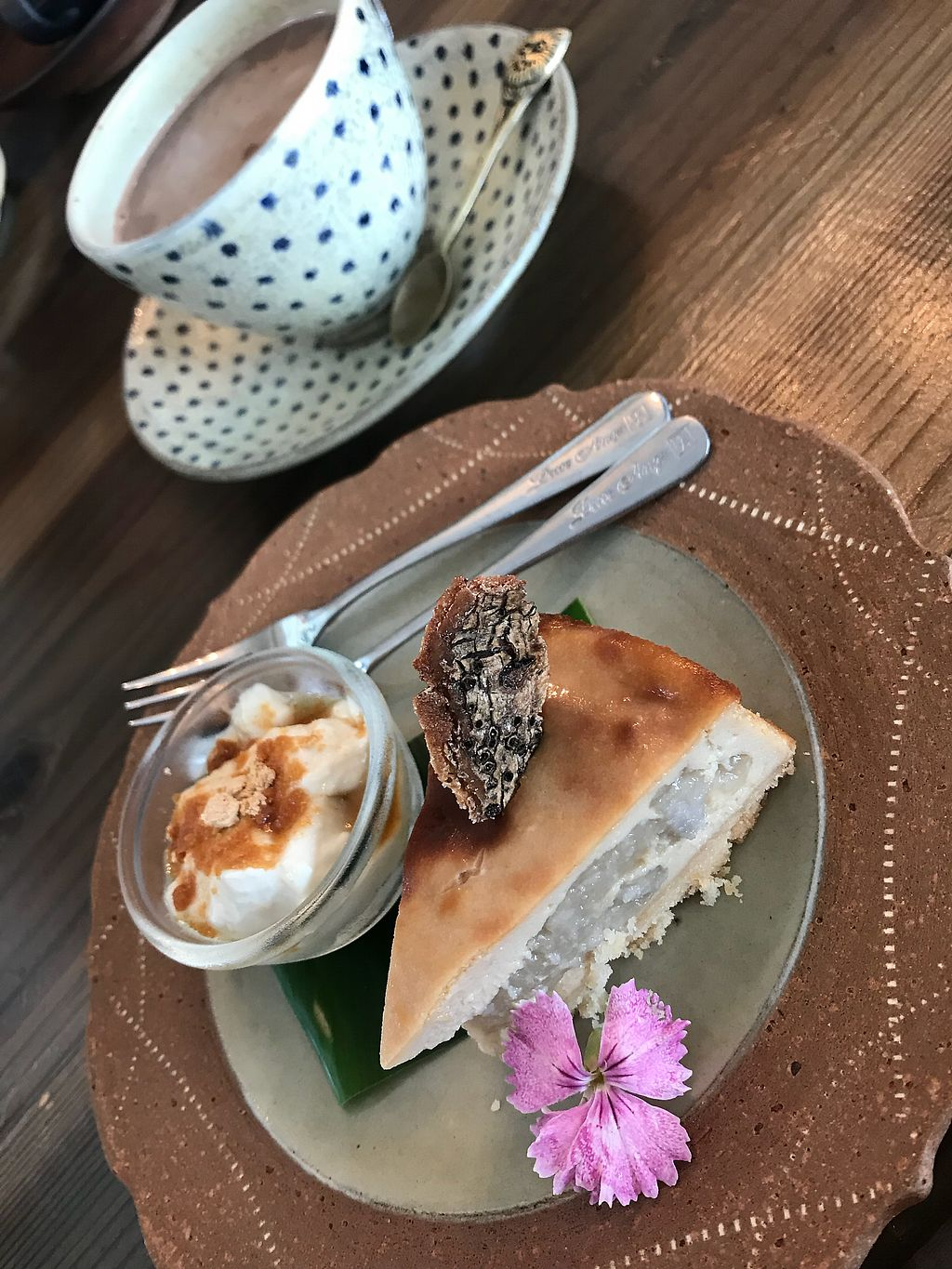 """Photo of Imacoco  by <a href=""""/members/profile/SophieGuay"""">SophieGuay</a> <br/>Tofu cheesecake and soy milk cocoa  <br/> April 12, 2018  - <a href='/contact/abuse/image/85000/384393'>Report</a>"""