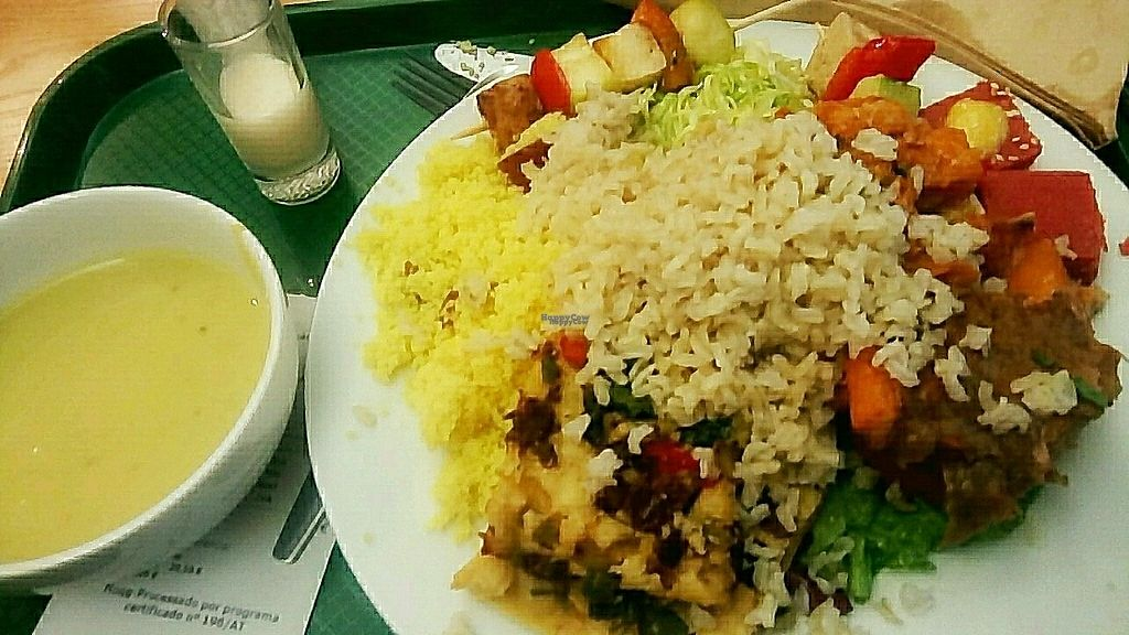 """Photo of DaTerra - Bom Sucesso Market  by <a href=""""/members/profile/Mandarina1"""">Mandarina1</a> <br/>(all vegan) creamy green soup, a spicy coconut milk """"shot"""" and on the plate : pumpkin bake (with a peanutty crust), brown rice, couscous, sort of seitan pizza with baked-in veggies, tofu sticks and two kinds of salad  <br/> February 5, 2017  - <a href='/contact/abuse/image/85008/223462'>Report</a>"""