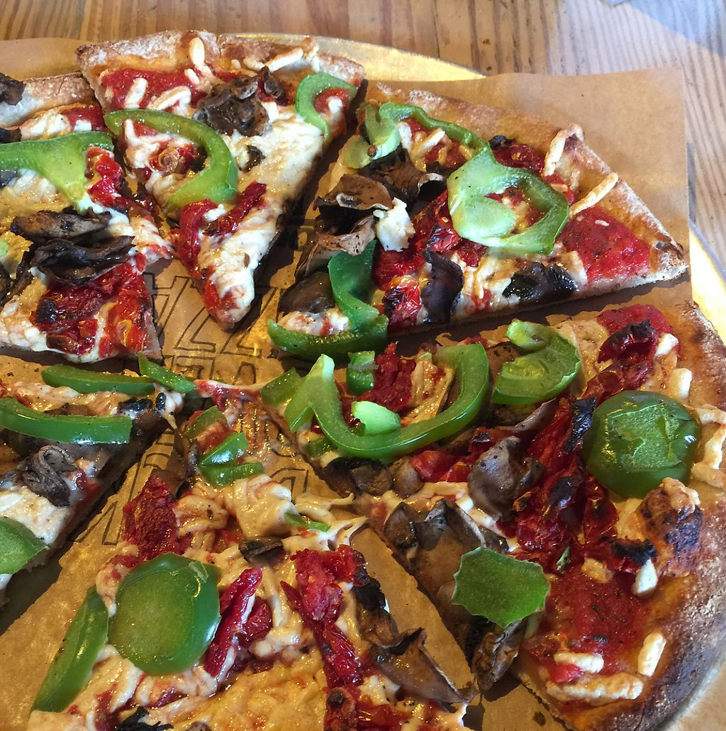 """Photo of Your Pie  by <a href=""""/members/profile/mbentz"""">mbentz</a> <br/>whole wheat crust, marinara sauce, vegan cheese, bell peppers, mushrooms, & sundries tomatoes <br/> January 20, 2017  - <a href='/contact/abuse/image/85038/213600'>Report</a>"""
