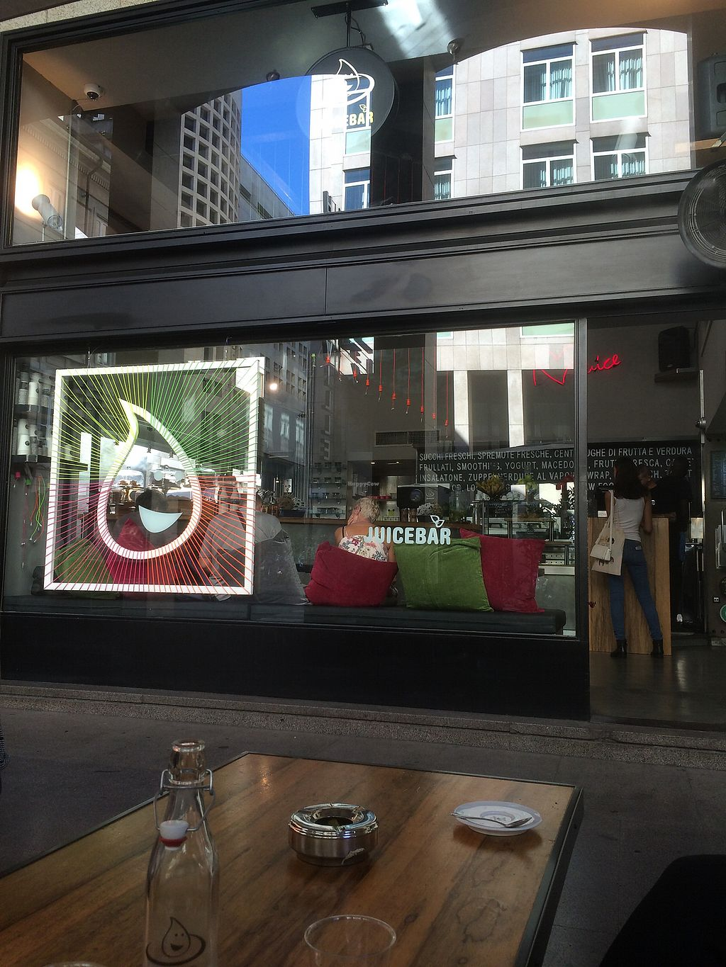 "Photo of Juicebar   by <a href=""/members/profile/HappyRhino"">HappyRhino</a> <br/>Has Latte Di Mandorle/Soia on the counter so you don't have to ask for it. one cappuccino, an americano and a bottle of water for 4.80€=fair prices. But the service was... well they did what they had to but obviously doesn't enjoy serving customers. Too loud music so they had problems hearing what I ordered. Had to repeat myself three times. But otherwise a nice and comfy place to chill for a moment.  <br/> July 25, 2017  - <a href='/contact/abuse/image/85085/284691'>Report</a>"