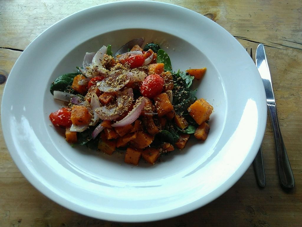 "Photo of Sandfly Cafe  by <a href=""/members/profile/kolaj"">kolaj</a> <br/>Vegan special: warm pumpkin salad w/ slow roasted cherry tomatoes, red onion, baby spinach & dukkah for $16 <br/> April 6, 2018  - <a href='/contact/abuse/image/85118/381404'>Report</a>"