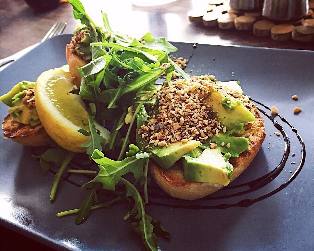"""Photo of Double Take Cafe  by <a href=""""/members/profile/GreatVeganExp"""">GreatVeganExp</a> <br/>Avocado sourdough with cashew dukkah <br/> January 12, 2017  - <a href='/contact/abuse/image/85121/211337'>Report</a>"""