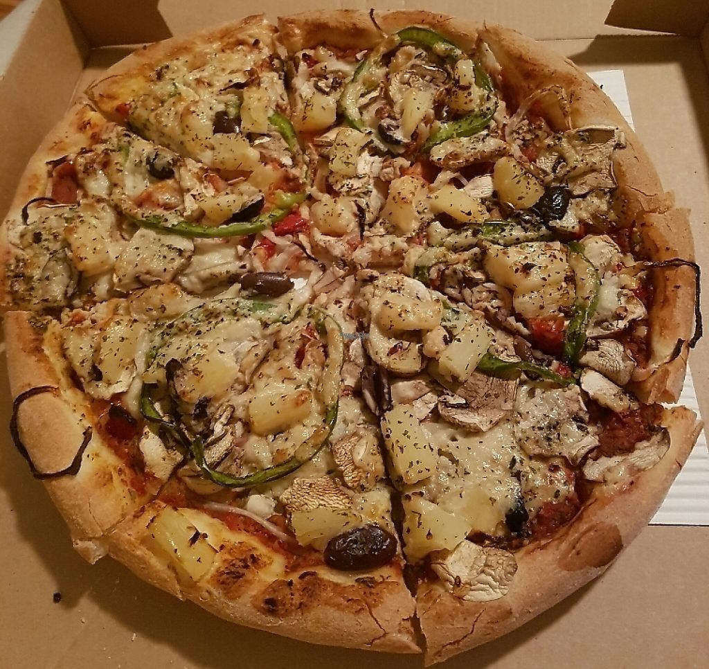 """Photo of Mozarella Fella  by <a href=""""/members/profile/JoshThomson"""">JoshThomson</a> <br/>Veggie Pizza with vegan cheese! <br/> January 12, 2017  - <a href='/contact/abuse/image/85184/254372'>Report</a>"""