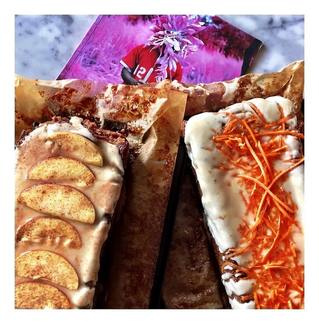 """Photo of Kaffabar  by <a href=""""/members/profile/KAFFABAR"""">KAFFABAR</a> <br/>New Vegan Cakes are available now: Spicy Apple ? Cake with Maple Syrup Icing and Carrot ? Cake! Njamie! <br/> March 7, 2017  - <a href='/contact/abuse/image/85187/233815'>Report</a>"""