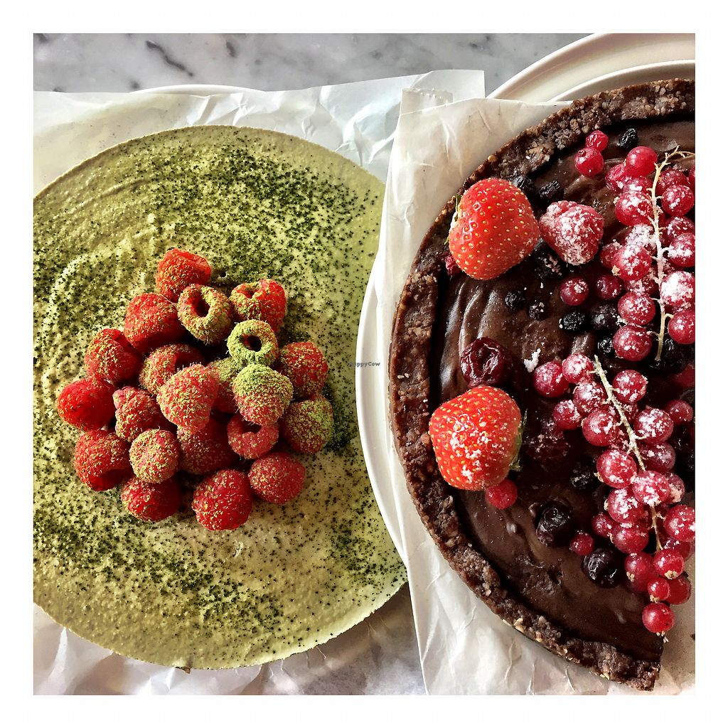 """Photo of Kaffabar  by <a href=""""/members/profile/KAFFABAR"""">KAFFABAR</a> <br/>Vegan Tea Time at Kaffabar: Matcha Raspberry Pie or Brownie Chocolatemousse Pie! Enjoy! #kaffabar #espresso #slowcoffee #belikemarcel #coffeebar #coffeebrussels #placerouppe #rouppeplein #veganbrussels #vegan #veganpie #veganlove #veganlife #veganlovers #veganlifestyle <br/> September 27, 2017  - <a href='/contact/abuse/image/85187/309051'>Report</a>"""
