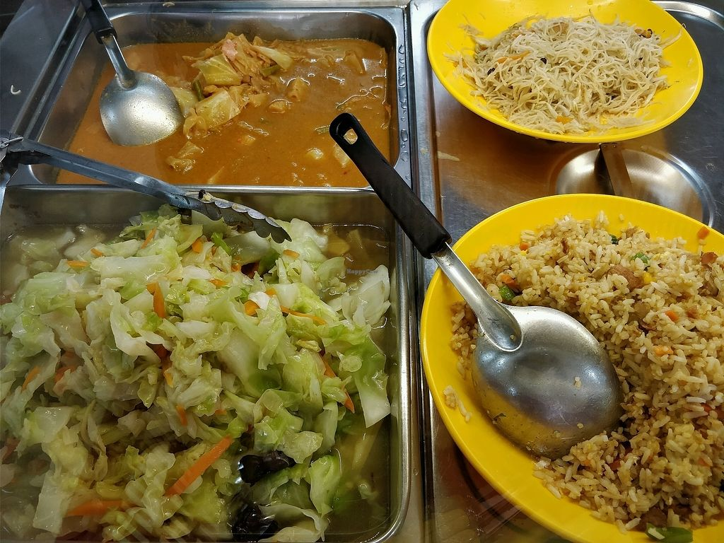 """Photo of Su Shi Ci Xin Vegetarian Food   by <a href=""""/members/profile/JimmySeah"""">JimmySeah</a> <br/>buffet - fried rice, stir fried cabbage and curry vegetables  <br/> February 10, 2018  - <a href='/contact/abuse/image/85226/357280'>Report</a>"""