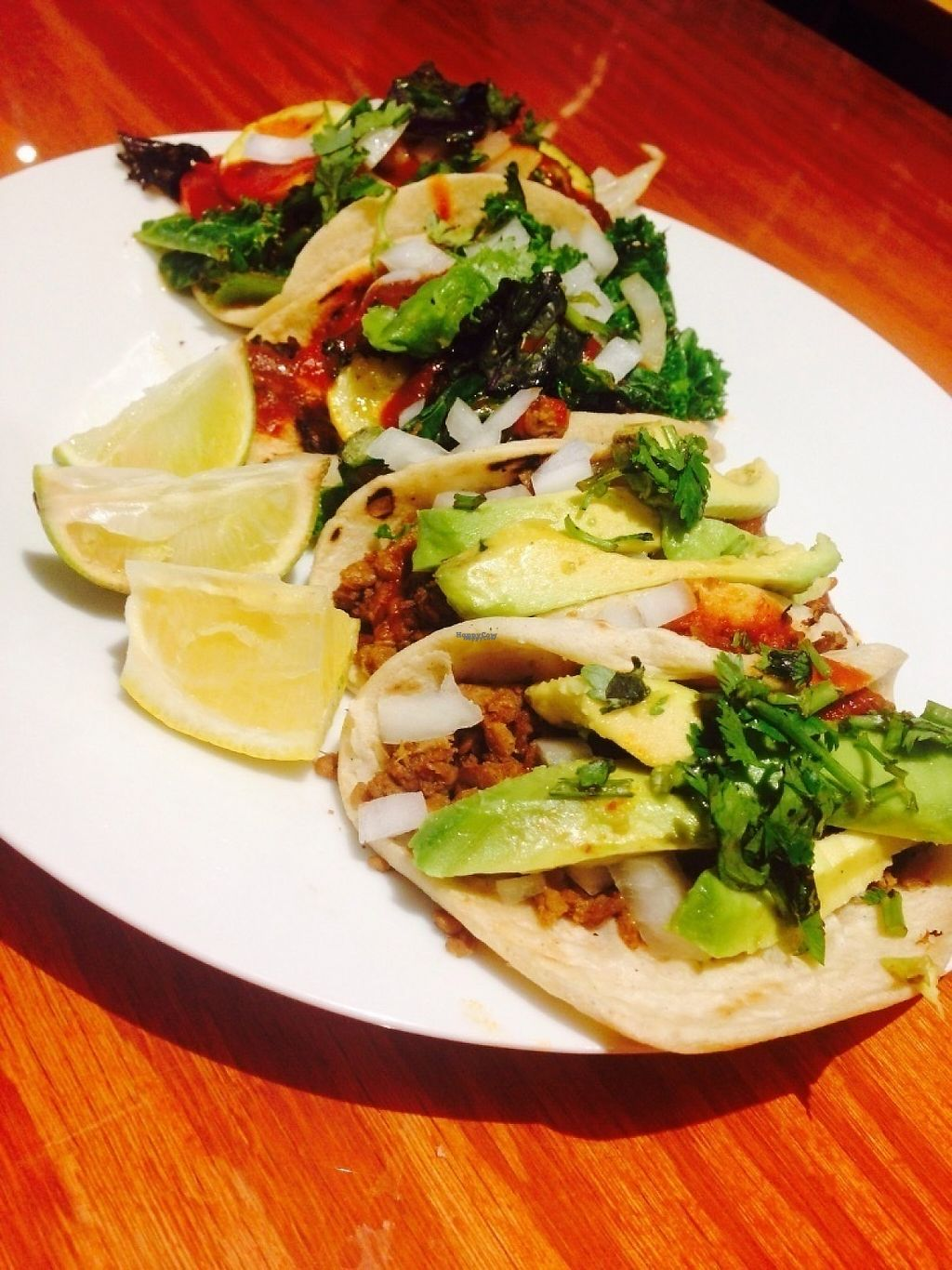 """Photo of Peace Nation   by <a href=""""/members/profile/EwelinaGasior"""">EwelinaGasior</a> <br/>Faux beefless crumbles tacos topped with house sauce, onions, cilantro & avocado in hand made gluten free Guatemalan tortillas :)  <br/> January 18, 2017  - <a href='/contact/abuse/image/85233/212935'>Report</a>"""