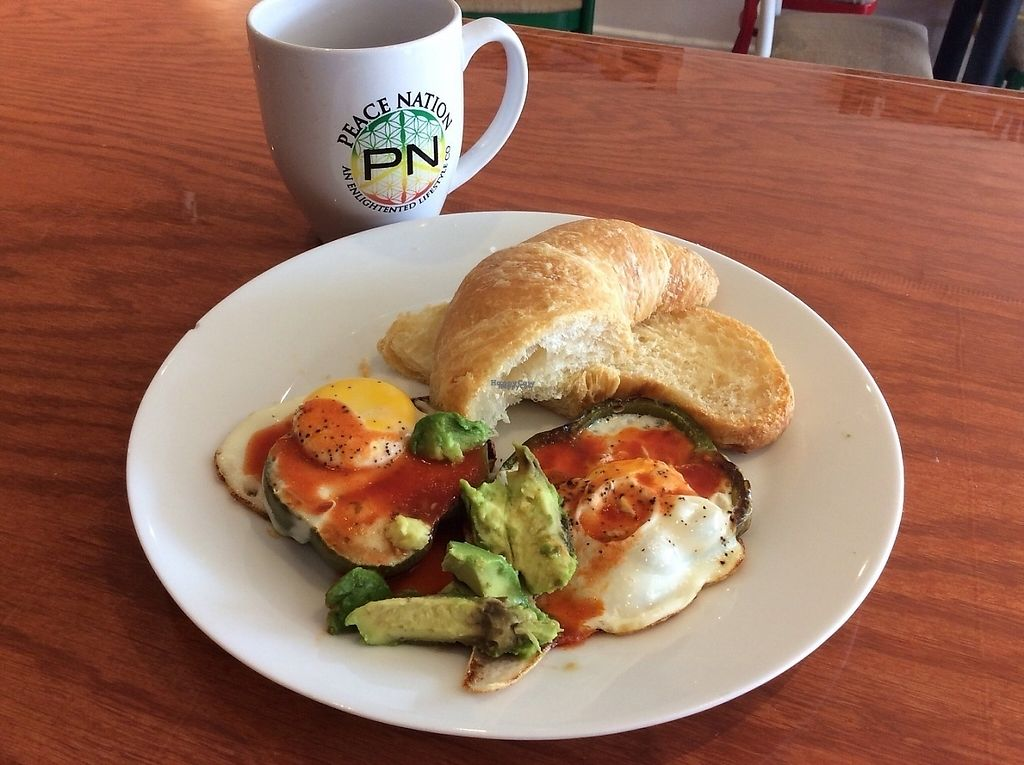 """Photo of Peace Nation   by <a href=""""/members/profile/EwelinaGasior"""">EwelinaGasior</a> <br/>Light Breakfast croissant w eggs in green bell pepper rims & avocado  <br/> January 18, 2017  - <a href='/contact/abuse/image/85233/212936'>Report</a>"""