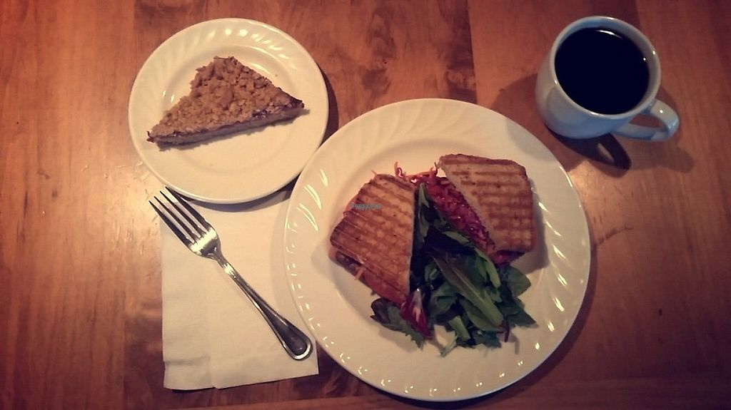 """Photo of Hideaway Bakery  by <a href=""""/members/profile/CorissaMarie"""">CorissaMarie</a> <br/>Grilled tempeh and peach, strawberry streusel  <br/> January 8, 2017  - <a href='/contact/abuse/image/85244/209750'>Report</a>"""