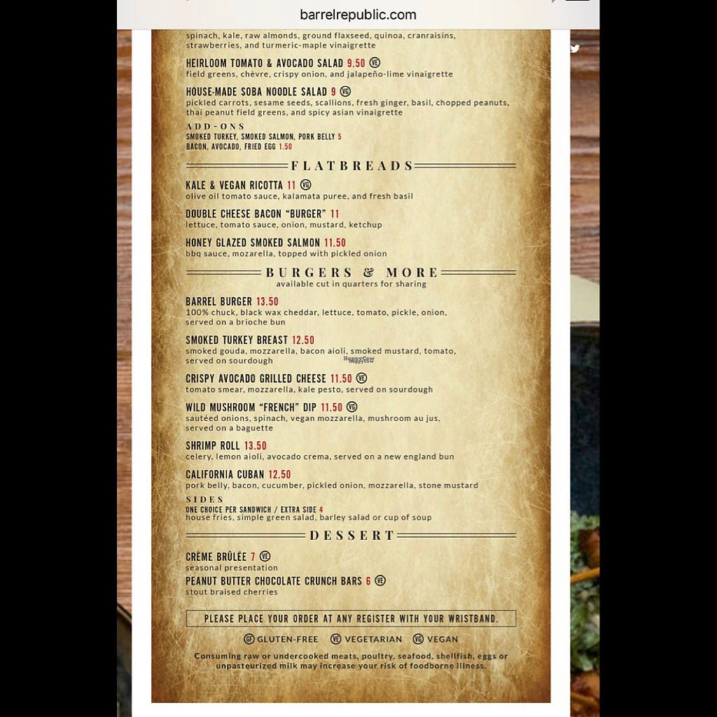 "Photo of Barrel Republic  by <a href=""/members/profile/chocolatespy"">chocolatespy</a> <br/>menu 2 <br/> January 9, 2017  - <a href='/contact/abuse/image/85247/209916'>Report</a>"