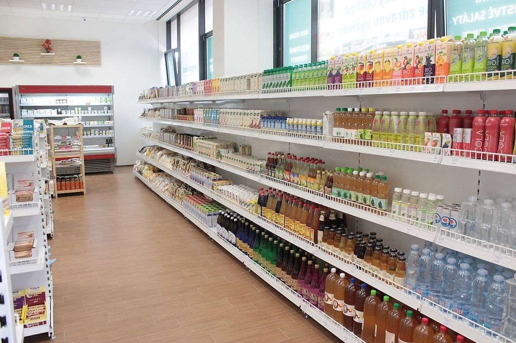 """Photo of Veganland - Pankrac  by <a href=""""/members/profile/VEGANLANDEU"""">VEGANLANDEU</a> <br/>a long shelf of drinks and everything related <br/> May 11, 2017  - <a href='/contact/abuse/image/85252/257815'>Report</a>"""