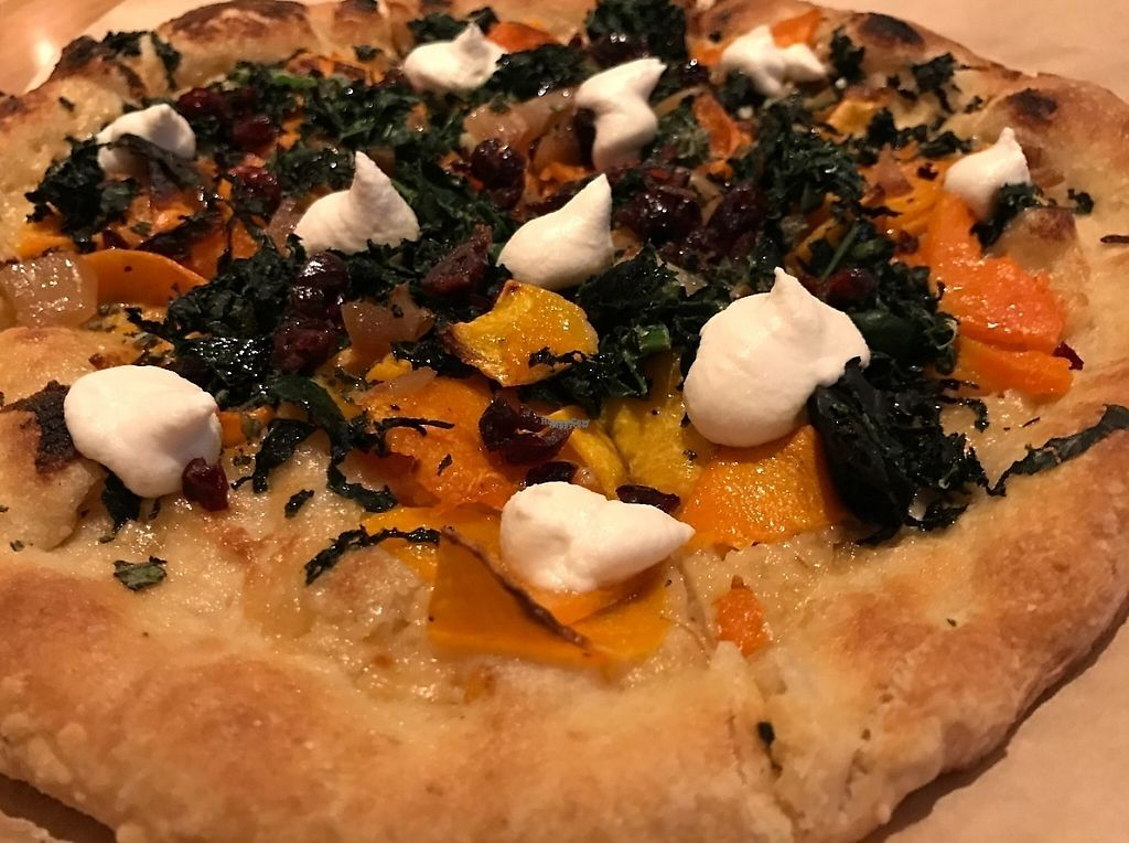 """Photo of True Food Kitchen  by <a href=""""/members/profile/Alysoun%20Mahoney"""">Alysoun Mahoney</a> <br/>Butternut Squash Pizza - smoked onion, organic kale, vegan almond ricotta, dried cranberry <br/> January 16, 2017  - <a href='/contact/abuse/image/85298/212361'>Report</a>"""