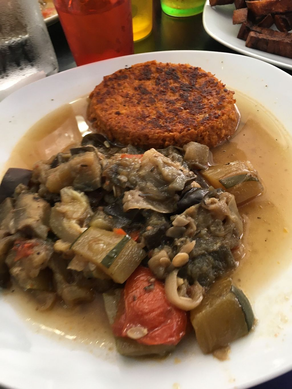 """Photo of Chic Planete  by <a href=""""/members/profile/vegan%20frog"""">vegan frog</a> <br/>Tofu patty and aubergine <br/> June 23, 2017  - <a href='/contact/abuse/image/85341/272662'>Report</a>"""