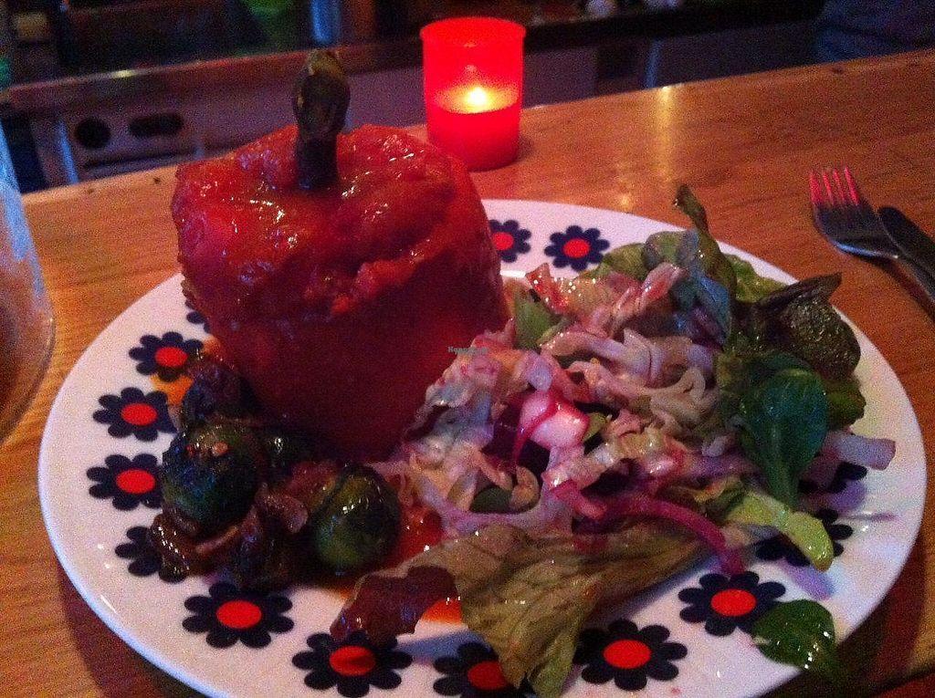 """Photo of Kulthum  by <a href=""""/members/profile/Sternanis"""">Sternanis</a> <br/>Stuffed bell pepper. Tasty and nicely presented with roasted brussels sprouts and salad. Well spiced tomato-y rice in the pepper.  <br/> January 11, 2017  - <a href='/contact/abuse/image/85369/210585'>Report</a>"""