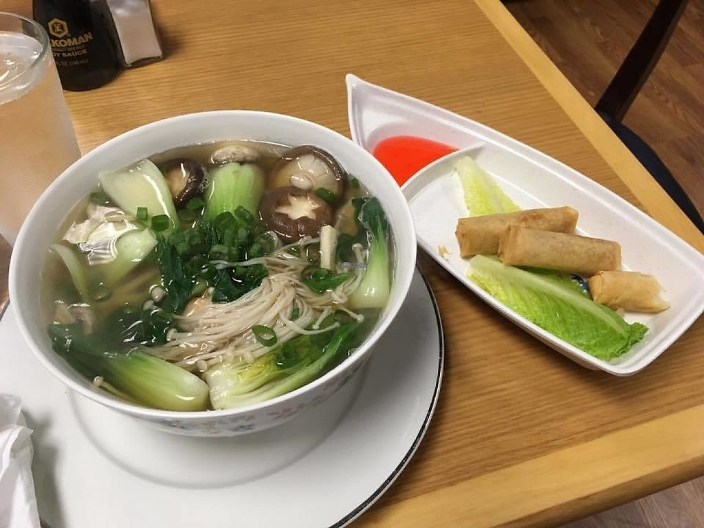 "Photo of Yang's Shabu Shabu  by <a href=""/members/profile/crystalized"">crystalized</a> <br/>veggie noodle soup and vegan spring rolls <br/> January 11, 2017  - <a href='/contact/abuse/image/85408/210891'>Report</a>"