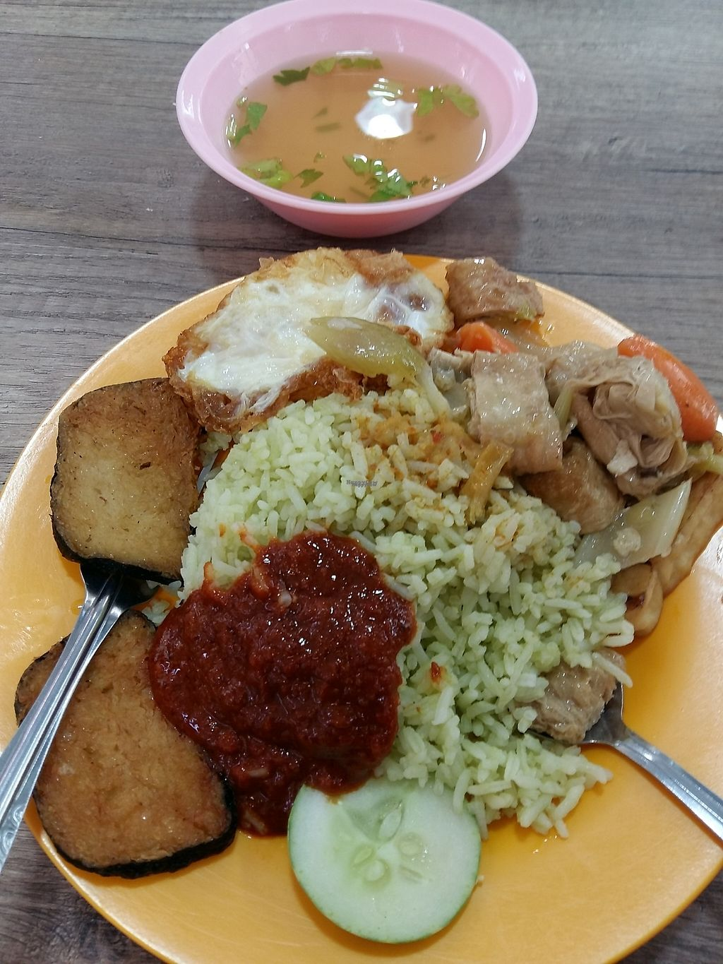 """Photo of Jia Le Yuan Vegetarian  by <a href=""""/members/profile/RichardLee"""">RichardLee</a> <br/>Nasi Lemak (has egg) Top right branches skin roll is added dish <br/> January 20, 2017  - <a href='/contact/abuse/image/85431/213451'>Report</a>"""