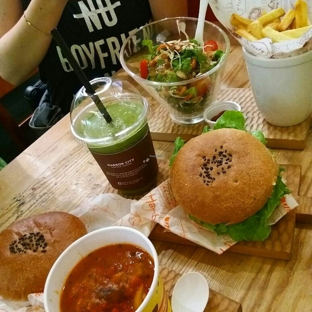 """Photo of Moomoo Burger & Smoothie  by <a href=""""/members/profile/ClumsyHeart"""">ClumsyHeart</a> <br/>tomato soup, moomoo salad, fries, soy broth burger and tomato cheese burger  <br/> May 31, 2017  - <a href='/contact/abuse/image/85434/264557'>Report</a>"""