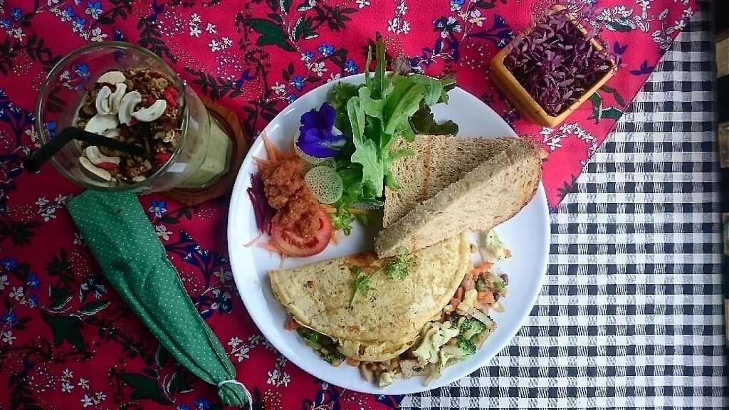 """Photo of Little Good Things  by <a href=""""/members/profile/Bjmcunningham"""">Bjmcunningham</a> <br/>Chickpea omelette and green smoothie  <br/> January 13, 2017  - <a href='/contact/abuse/image/85437/211643'>Report</a>"""