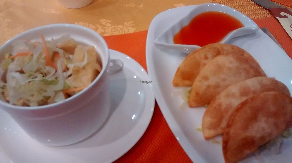 """Photo of Lotus Vegetarian Cuisine  by <a href=""""/members/profile/TrixieFirecracker"""">TrixieFirecracker</a> <br/>Two starters for me! Deep fried tofu, and dumplings <br/> March 20, 2017  - <a href='/contact/abuse/image/85472/238949'>Report</a>"""