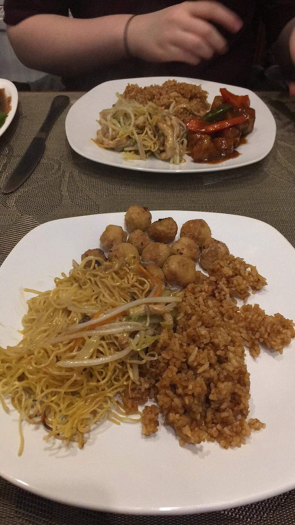 """Photo of Lotus Vegetarian Cuisine  by <a href=""""/members/profile/katebelcher5"""">katebelcher5</a> <br/>Shredded pork chow mein, fried rice, satay chicken/salt and chilli chicken <br/> December 22, 2017  - <a href='/contact/abuse/image/85472/338127'>Report</a>"""